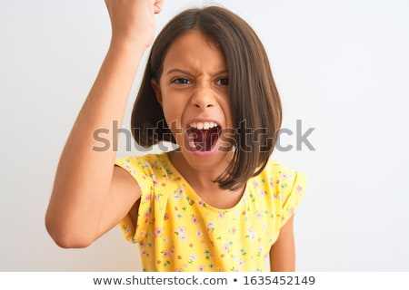 Louco furioso criança cara olhos criança Foto stock © zurijeta