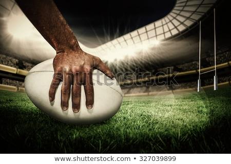 Rögbi játékos tart rögbilabda hátulnézet sport Stock fotó © wavebreak_media