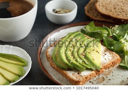 Abacate salada torrado pão cebolas madeira Foto stock © Digifoodstock