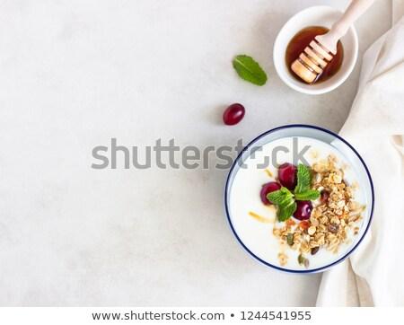 tál · gabonafélék · üveg · joghurt · reggeli · fa · asztal - stock fotó © digifoodstock