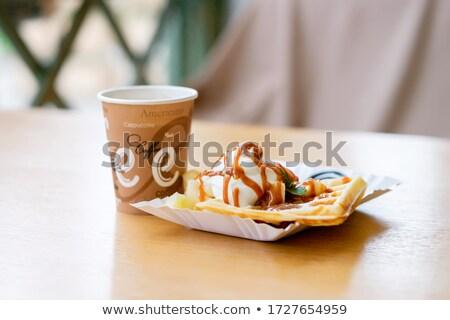 Italok eldobható csészék tányér kekszek illusztráció Stock fotó © bluering