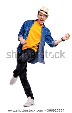 Portrait jeune homme blanche shirt jeans chapeau Photo stock © deandrobot