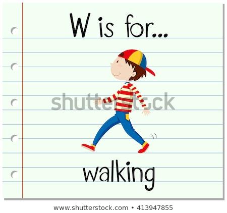 Alfabe yürüyüş örnek kâğıt çocuklar eğitim Stok fotoğraf © bluering