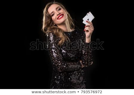 ász lány szív kártya illusztráció Stock fotó © DzoniBeCool