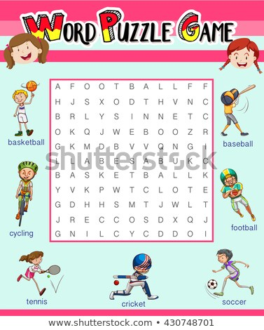 Game template with word puzzle about sports Stock photo © bluering