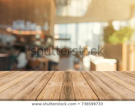 Bruin tabel top wazig coffeeshop interieur Stockfoto © punsayaporn