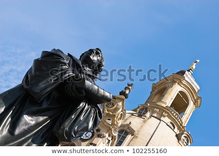 Frauenkirche (Our Lady church) and statue Martin Luther in the c Stock photo © vladacanon