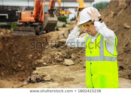 Férfi vezetés buldózer fehér férfi fehér illusztráció Stock fotó © bluering