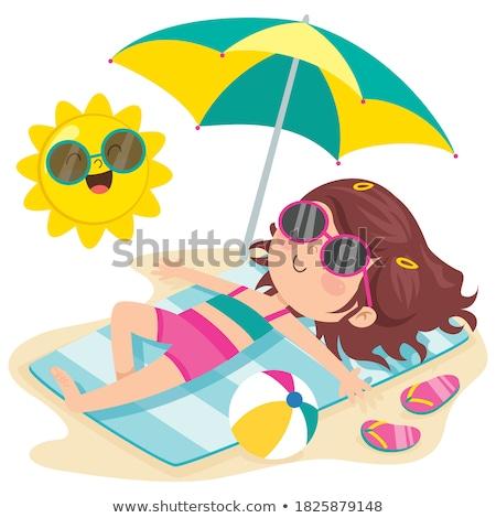 Girl in blue bikini lying down Stock photo © bluering