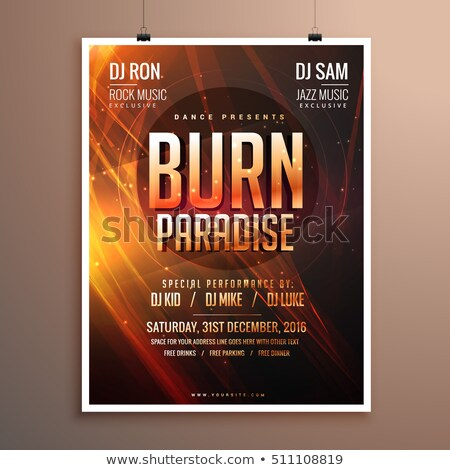 music party flyer template card with abstract fire theme stock photo © sarts
