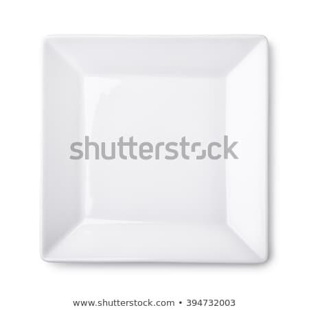 квадратный белый пластина глубокий пасты блюд Сток-фото © Digifoodstock