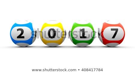 Lottó golyók fehér asztal új renderelt kép Stock fotó © Oakozhan