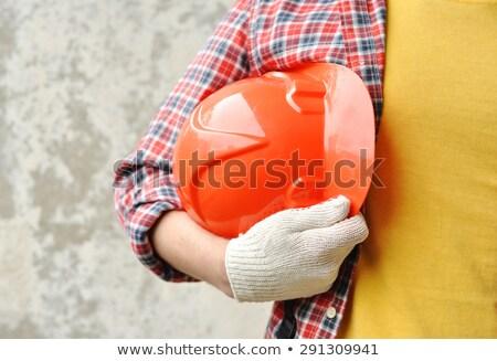 Jonge kaukasisch bouwer werkkleding lachend Stockfoto © RAStudio
