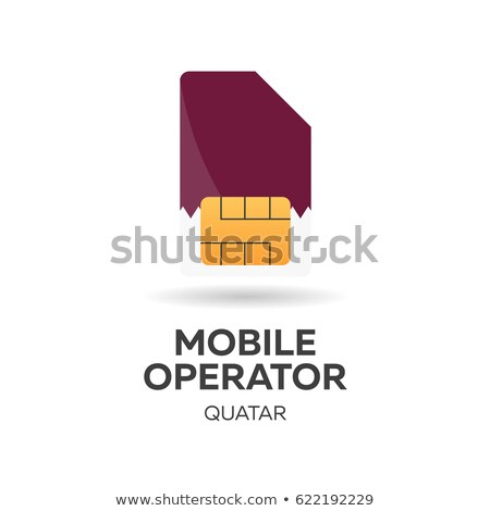 Quatar mobile operator. SIM card with flag. Vector illustration. Stock photo © Leo_Edition