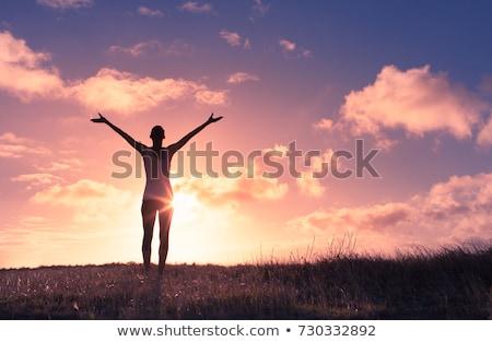 Mutlu kadın silah ayakta plaj kulübe ahşap Stok fotoğraf © wavebreak_media