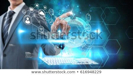 işadamı · yazı · pikap · iğnesi · arayüz · ekran · beyaz - stok fotoğraf © wavebreak_media