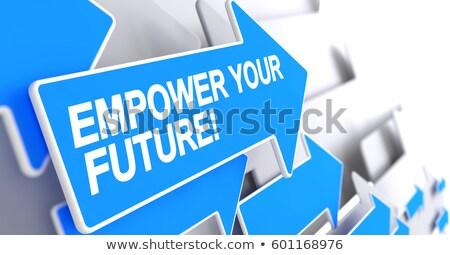 将来 ラベル 青 カーソル 3D メッセージ ストックフォト © tashatuvango