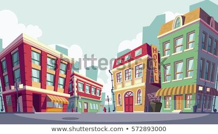 Cute · Cartoon · дома · копия · пространства · розовый · пространстве - Сток-фото © zsooofija