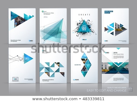 template blue green creative abstract design of brochure set horizontal cover flyer in a4 with co stock photo © diamond-graphics