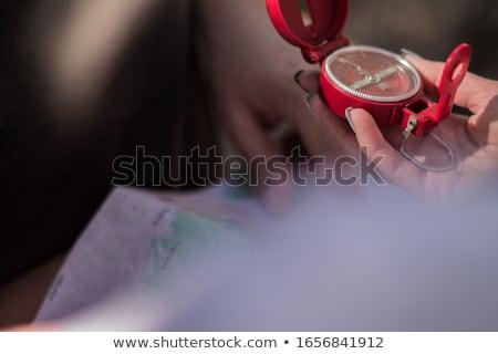 mulher · sessão · suv · bússola · céu · mapa - foto stock © is2