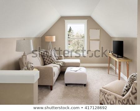 Vliering kamer interieur meubels illustratie compleet Stockfoto © lenm