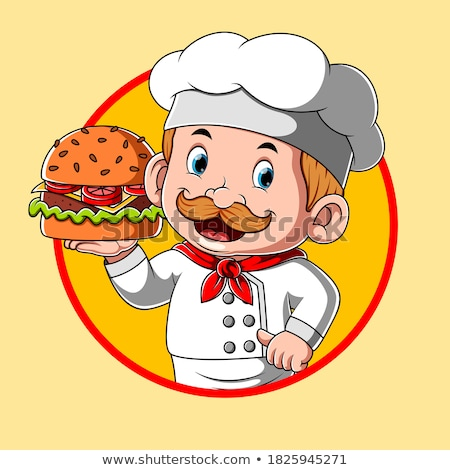 Cartoon Character Chef Holding Burger Stock photo © Krisdog