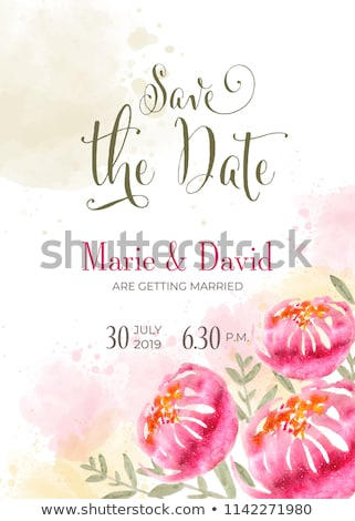 Güzel düğün davetiyesi suluboya çiçekler kurtarmak Stok fotoğraf © balasoiu