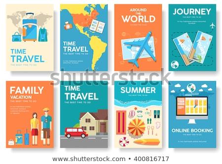 Gira mundo vector folleto establecer viaje Foto stock © Linetale
