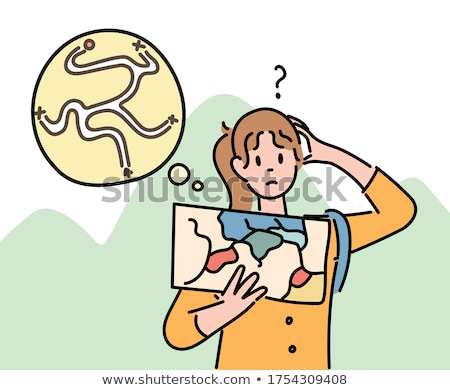 Tourist with backpack holding a map hand drawn outline doodle icon. Stock photo © RAStudio