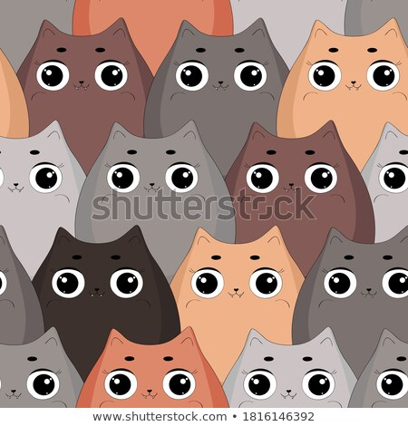 halloween seamless pattern with cartoon characters ogange stockfoto © voysla