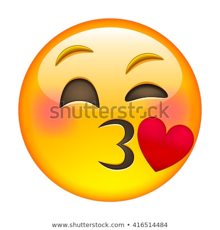 Beso emoticon cute mujer nina Foto stock © yayayoyo
