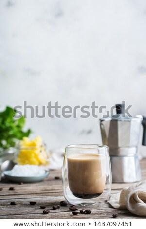 Csésze kávé vaj tej kanál citromsárga Stock fotó © Alex9500