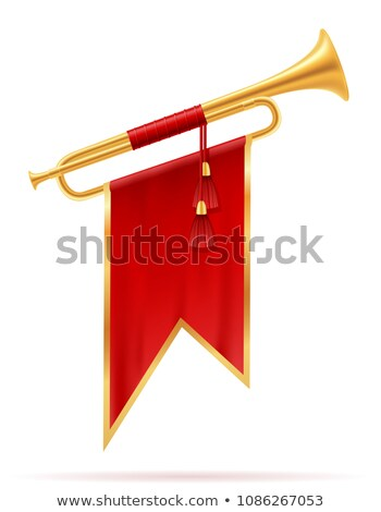 Ribbon and Flag with Trumpet Vector Illustration Stock photo © robuart
