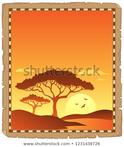 Parchment with savannah sunset scenery Stock photo © clairev