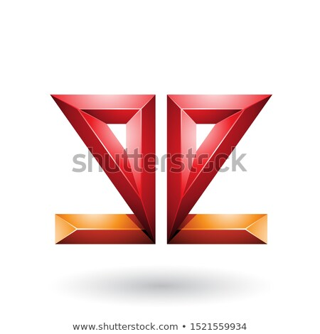 Stock photo: Orange and Red 3d Geometrical Double Sided Embossed Letter E Vec