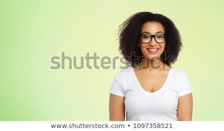 счастливым женщину белый футболки извести зеленый Сток-фото © dolgachov