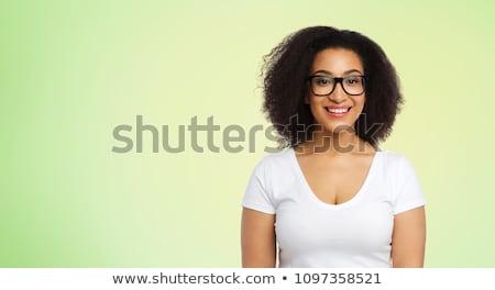Heureux femme blanche tshirt chaux vert Photo stock © dolgachov