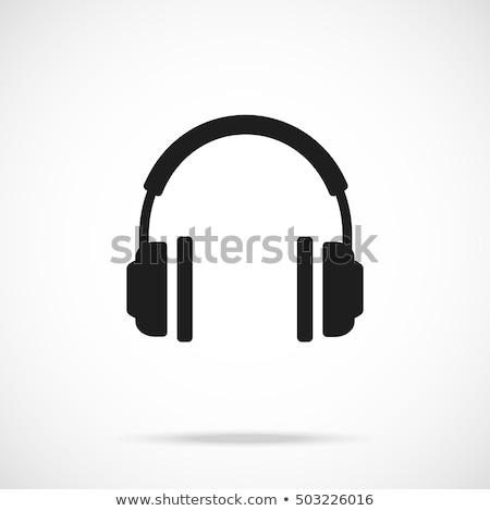 Fülhallgató ikon vektor szimbólum terv zene Stock fotó © blaskorizov