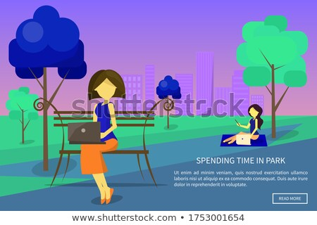Spending Time in Park Poster Girl Sitting on Grass Stock photo © robuart