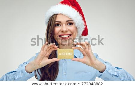 nő · mikulás · kalap · készít · kézmozdulat · vonzó - stock fotó © feedough