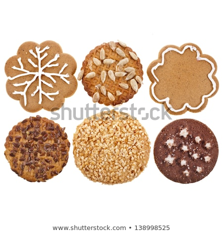 Set of decorated gingerbread cookies different shape, holiday treat, snowflake, mitten, snowman, hea Stock photo © MarySan