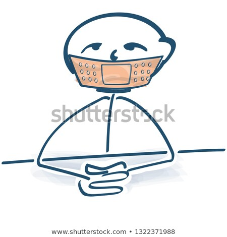 Stick figure with plaster on his mouth Stock photo © Ustofre9