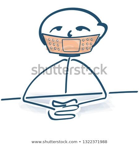Stick figure штукатурка рот здоровья сведению больным Сток-фото © Ustofre9