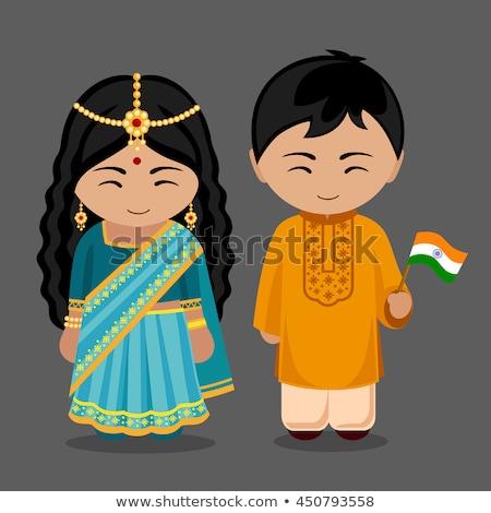 Cute fille pavillon Inde illustration enfant Photo stock © colematt