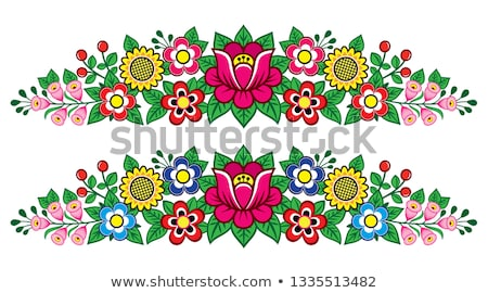 Polish folk art vector floral decoration, Zalipie decorative pattern with roses and leaves - greetin Stock photo © RedKoala