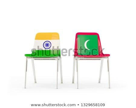 Due sedie bandiere India Maldive isolato Foto d'archivio © MikhailMishchenko