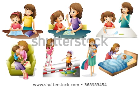Mother and kids in different actions Stock photo © colematt