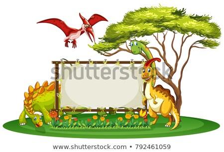 Afiş şablon çok dinozorlar bahçe örnek Stok fotoğraf © colematt