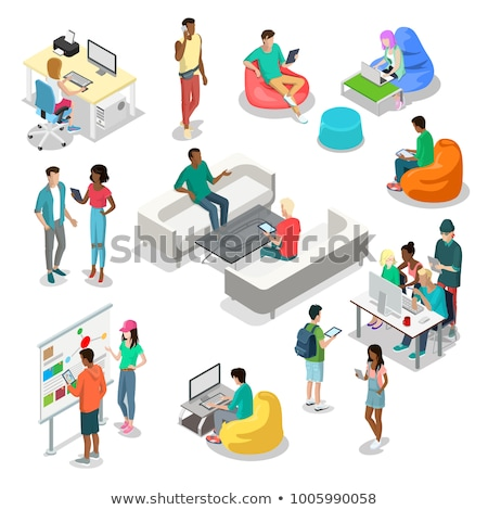 Set of icons, office and school. Flat 3d isometric style, vector illustration. stock photo © kup1984