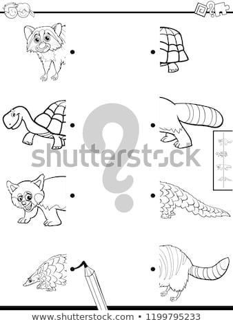 Maç hayvanlar boyama kitabı siyah beyaz karikatür örnek Stok fotoğraf © izakowski
